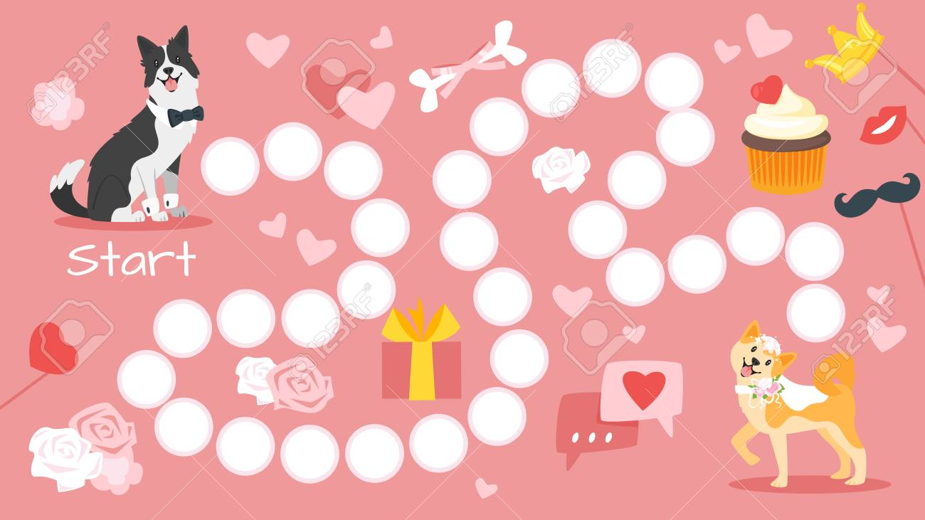 Vector Cartoon Style Illustration Of Wedding Board Game Template