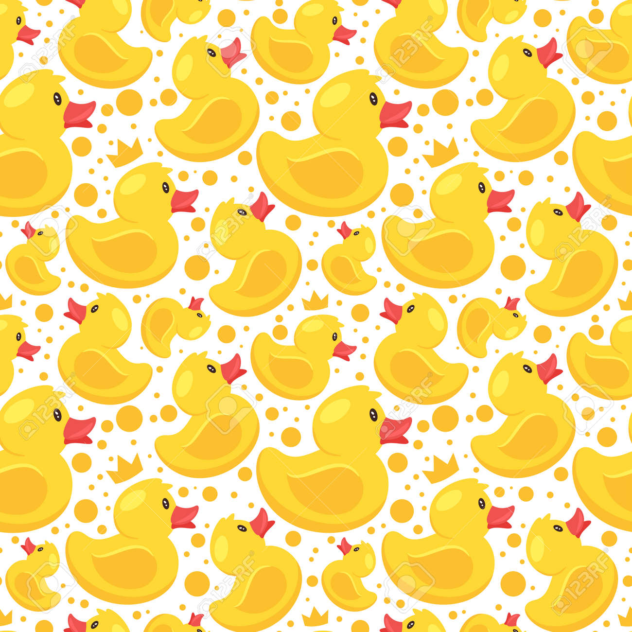 Vector cartoon style seamless pattern with yellow rubber duck on white background. - 110532494