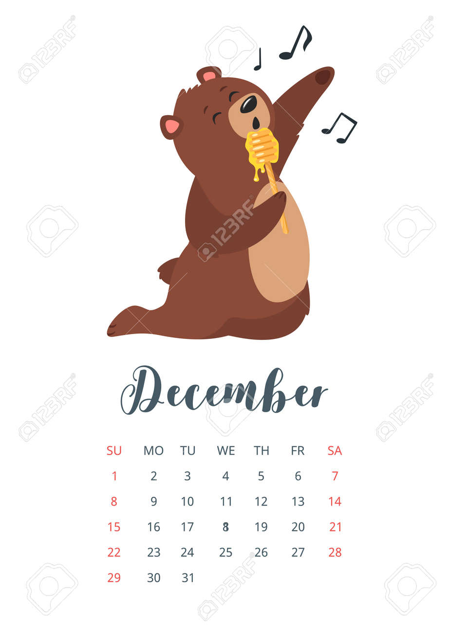 December 2019 Calendar Animals Vector Cartoon Style Illustration Of December 2019 Year Calendar