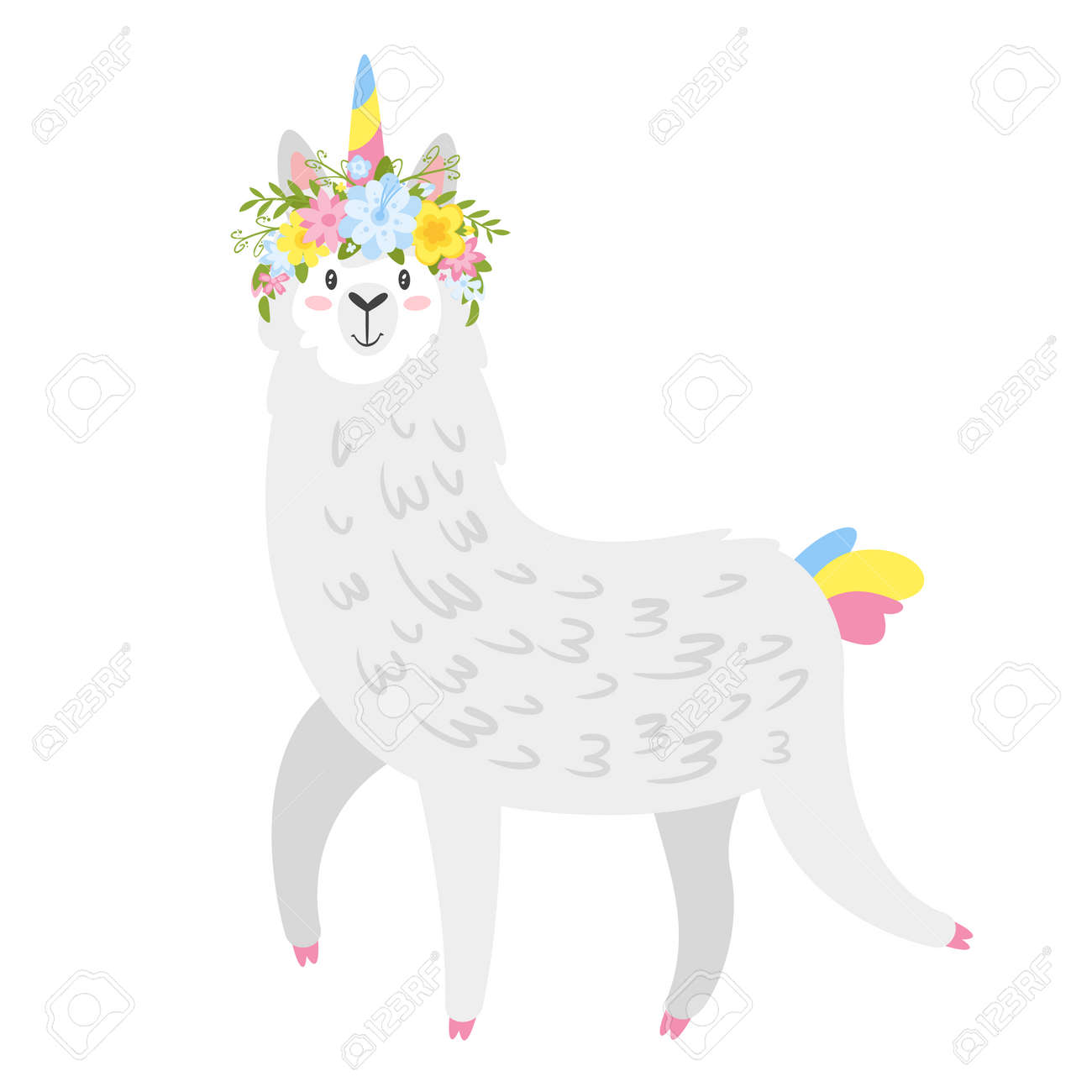 Cute lama. Alpaca animal with unicorn horn and flower wreath. Vector illustration, isolated on white background. Design for poster, sticker or t-shirt. - 113507759