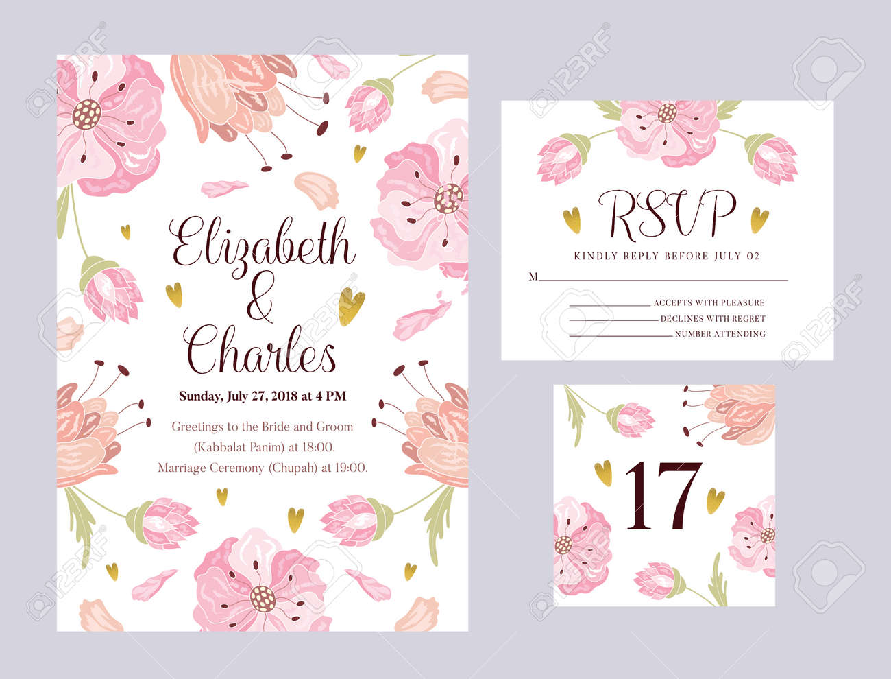 Wedding Invitation Rsvp Card Design With Elegant Flowers Vector