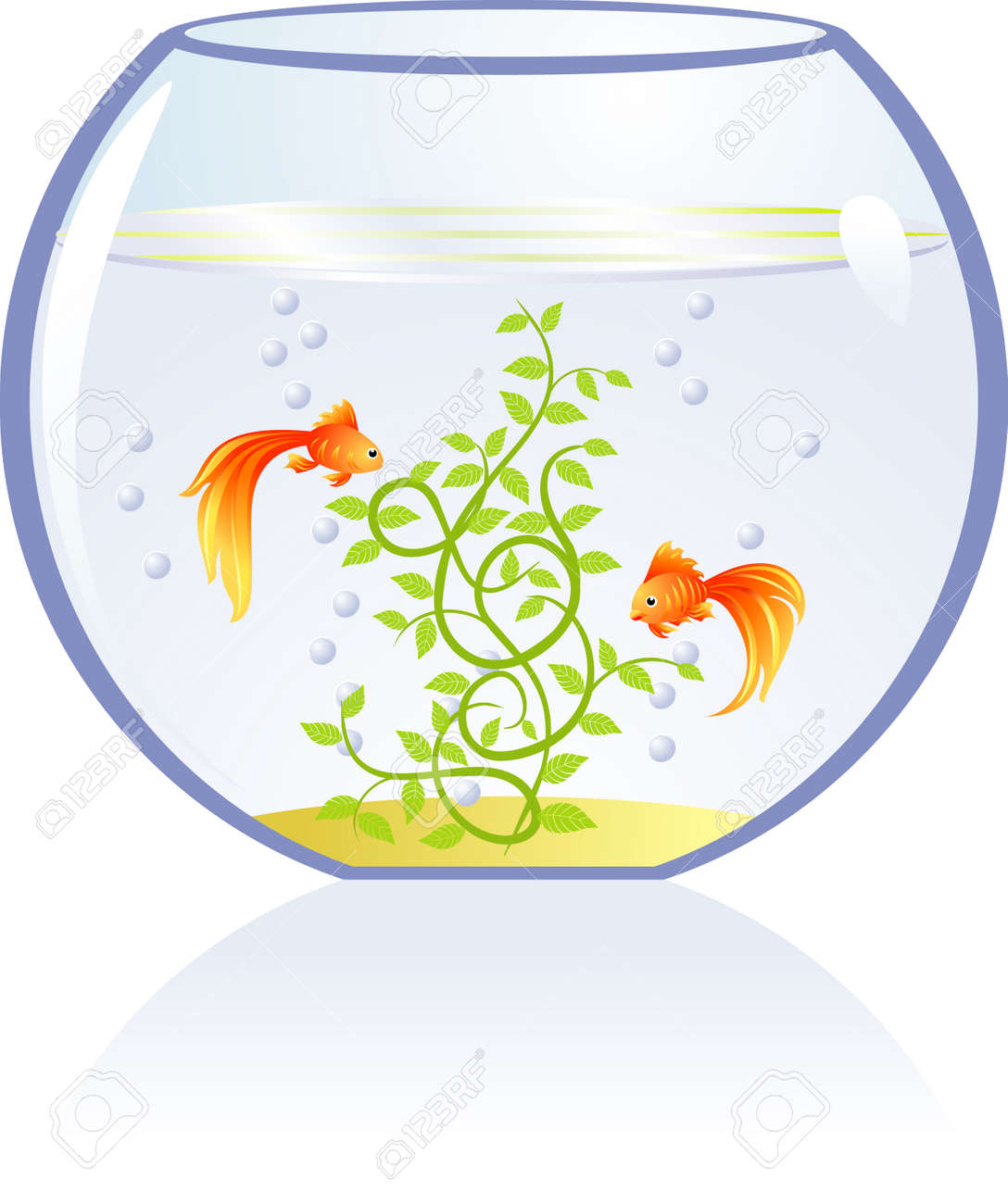 Gold fishes in aquarium Stock Vector - 2780231