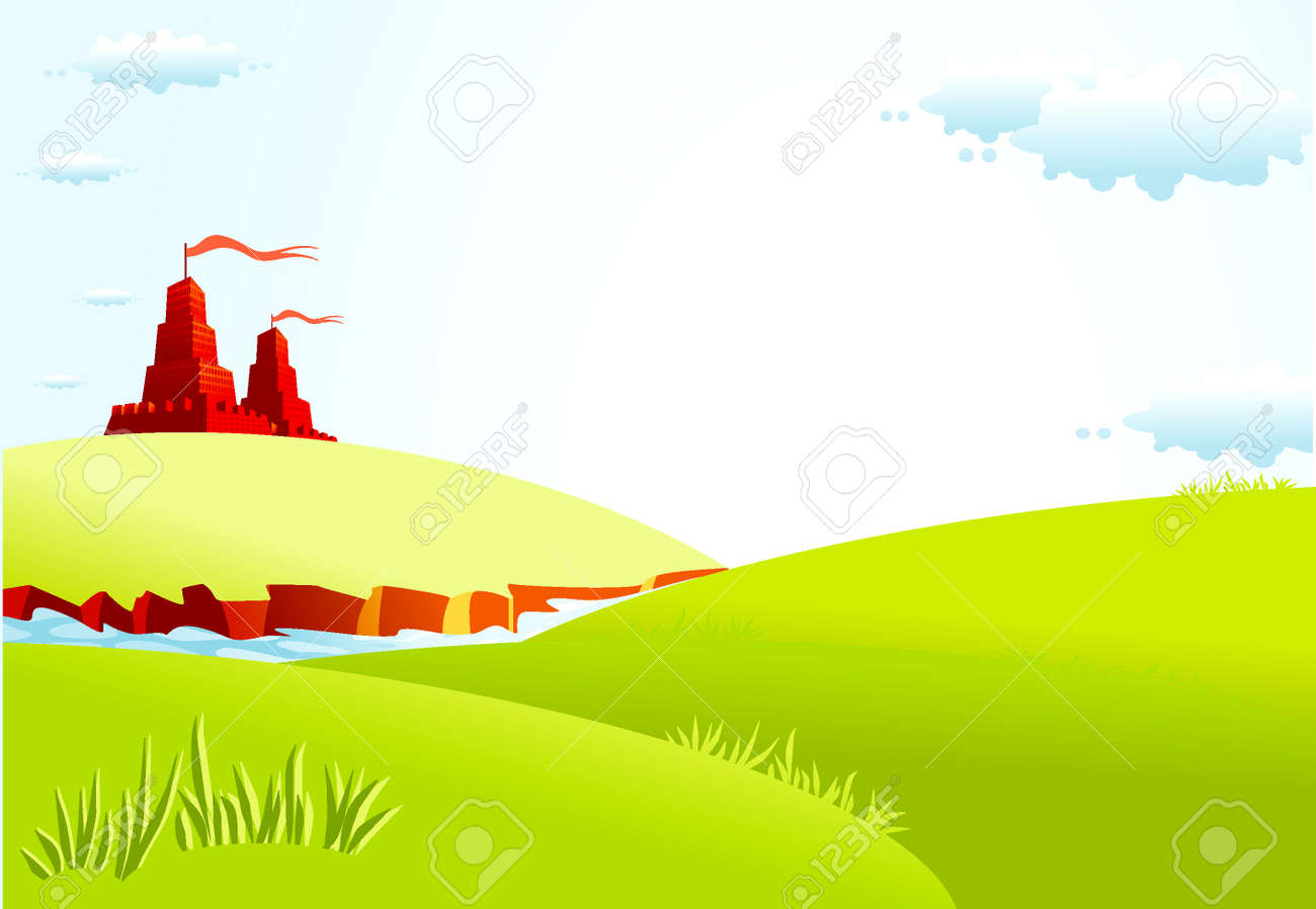 Summer landscape with castle and river Stock Vector - 4172120