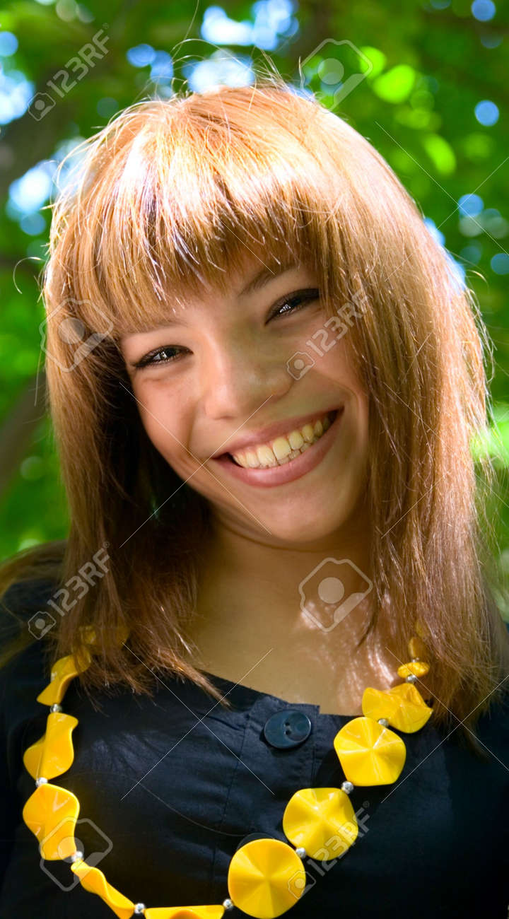 Portrait young smile girl outdoor Stock Photo - 5125138
