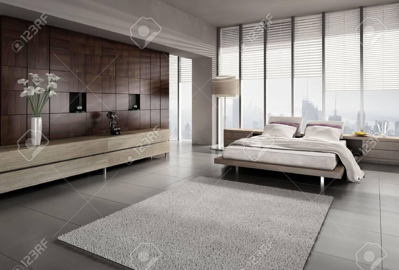 Een 3D-weergave Van Modern Design Slaapkamer Royalty-Vrije Foto ...
