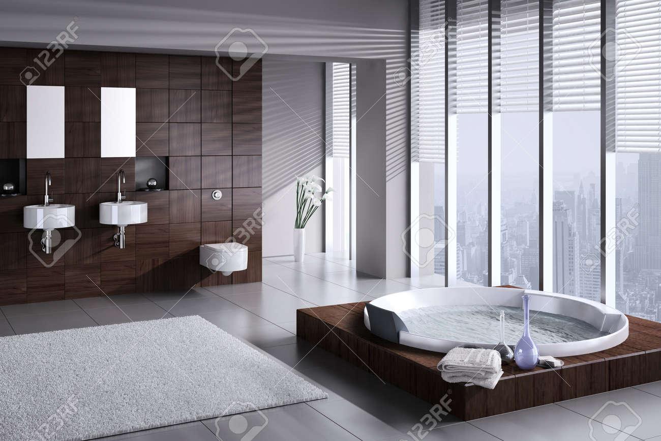 a 3d rendering di bagno moderno con doppio lavabo e vasca ... - Bagni Moderni Con Vasca