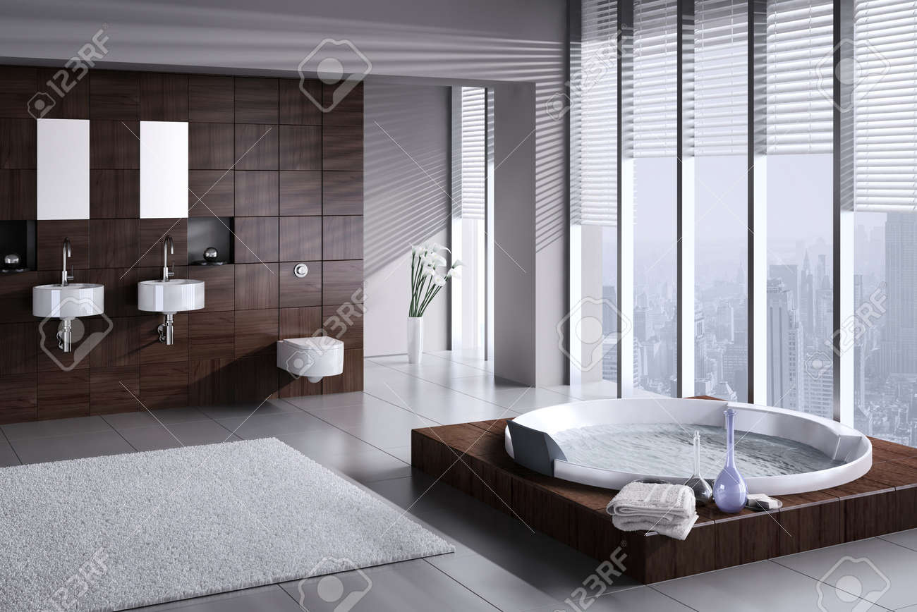 A d rendering of modern bathroom with double basin and jacuzzi