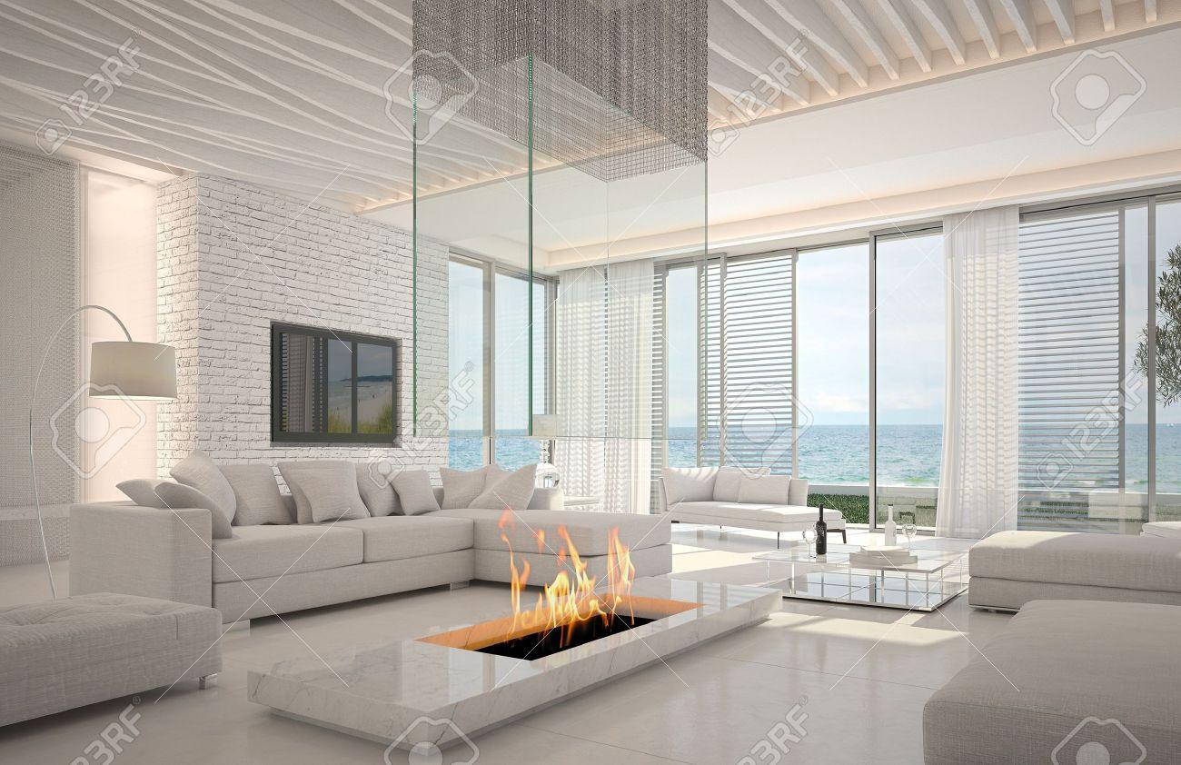 Een 3D-rendering Van Witte Woonkamer Interieur Met Open Haard ...