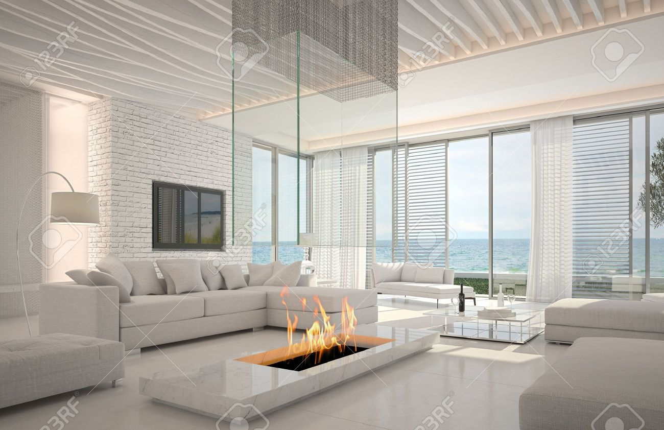 A 3d rendering of white living room interior with fireplace Stock Photo - 19419511
