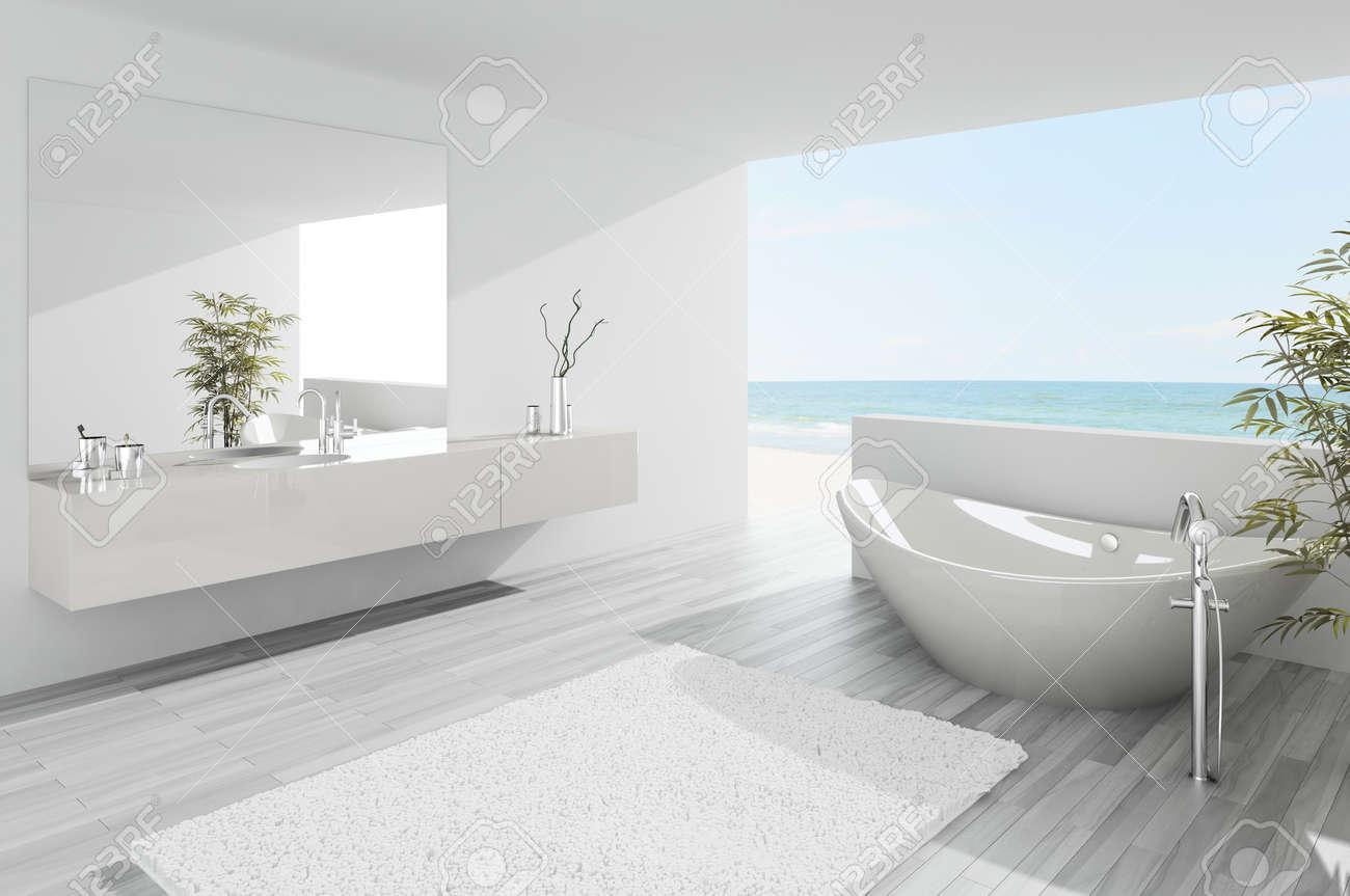 A 3d Rendering Of Light Modern Bathroom Interior Stock Photo