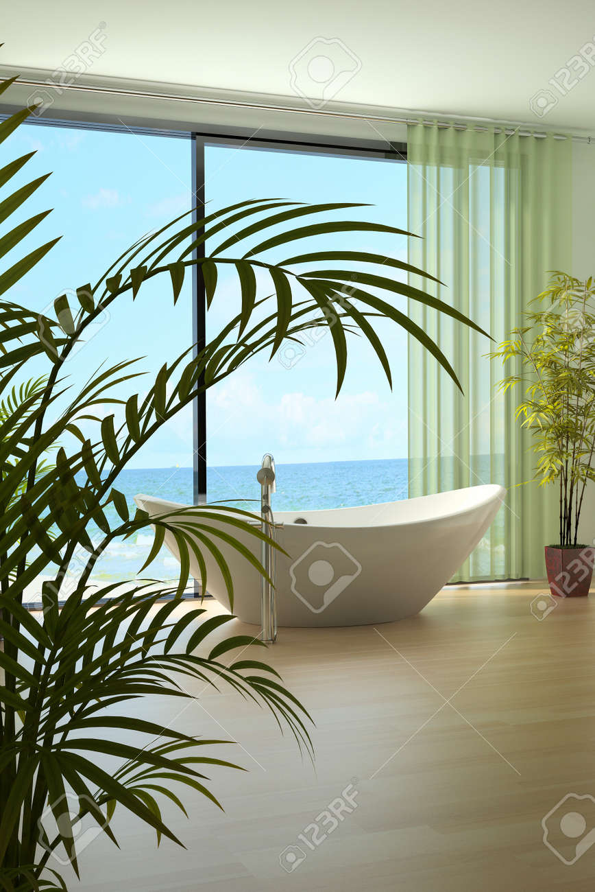 A 3d rendering of light bathroom interior Stock Photo - 19459384