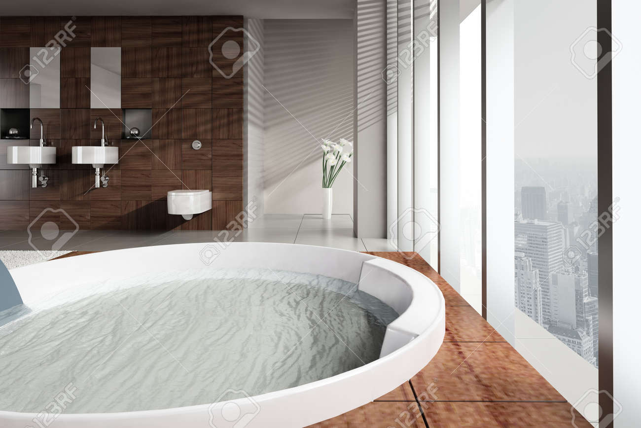 A 3d Rendering Of Modern Bathroom With Double Basin And Jacuzzi ...