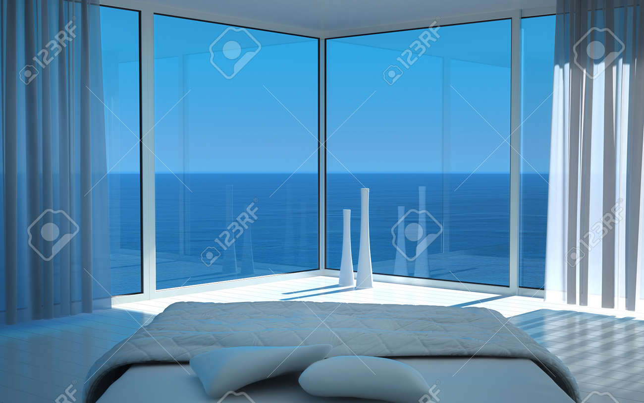 Modern white bedroom with amazing seascape view Stock Photo - 19532902