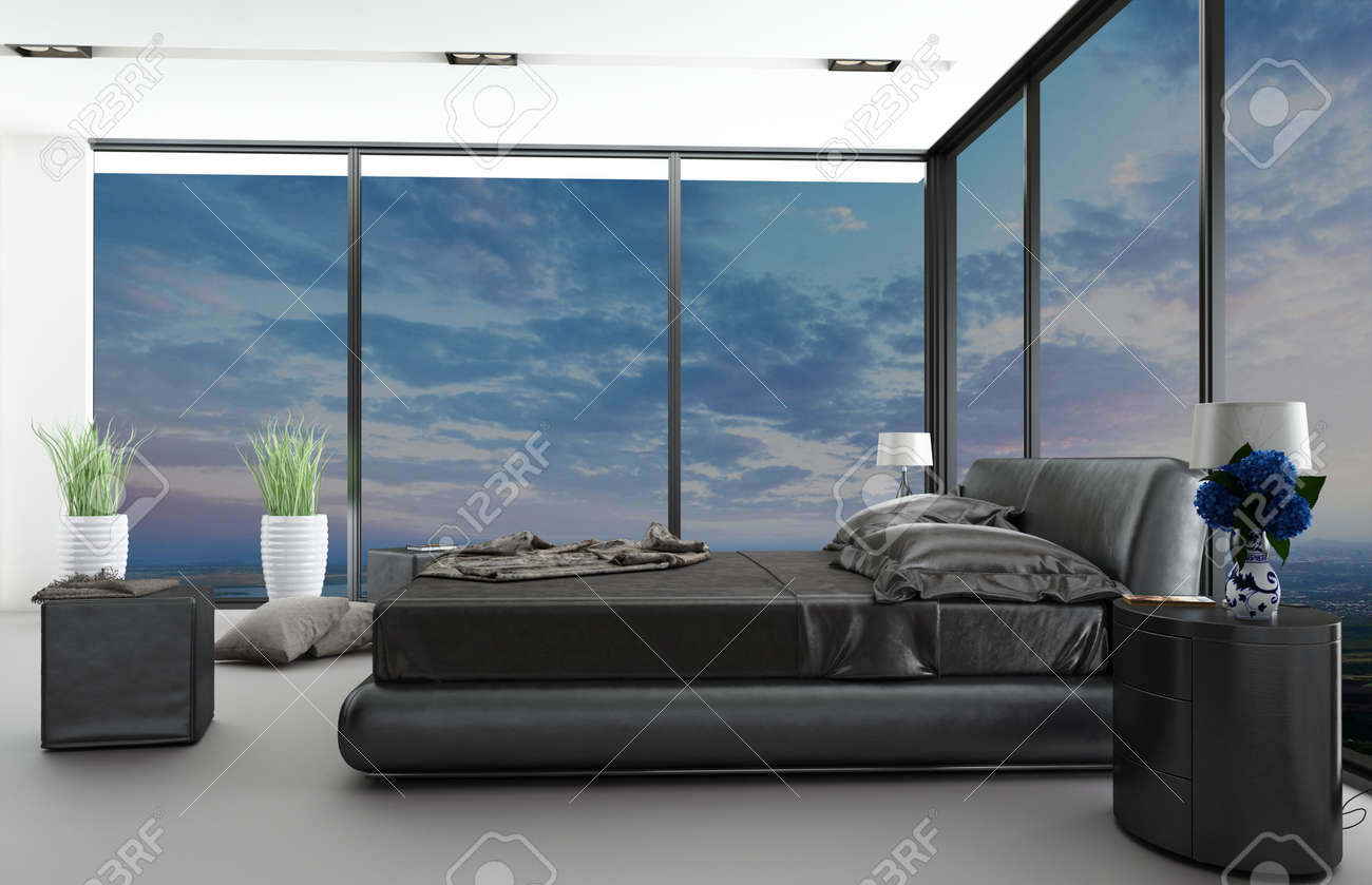 Nice Bedroom Modern Bedroom Interior With Nice View Stock Photo Picture And