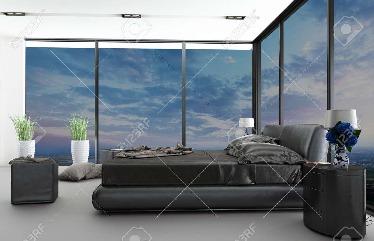 Moderne Slaapkamer Interieur Met Mooi Uitzicht Royalty-Vrije Foto ...