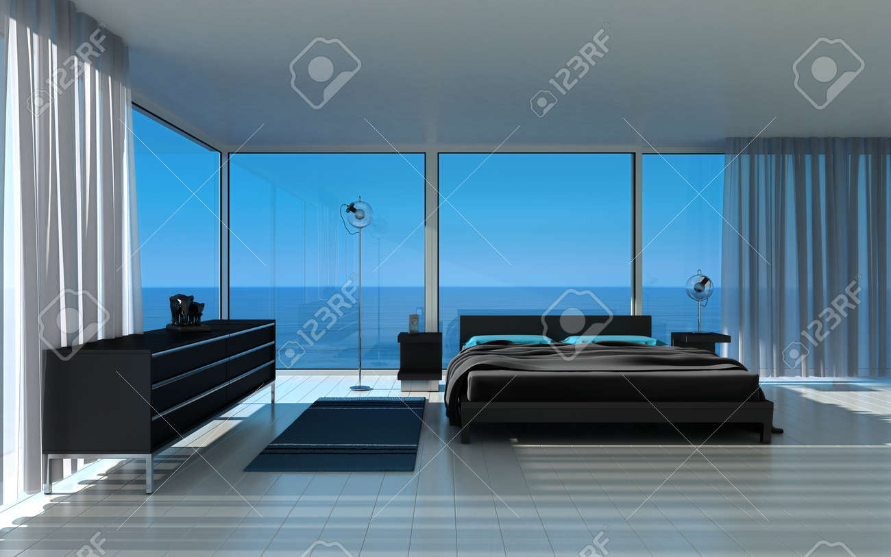 Modern Bedroom with fantastic seascape view Stock Photo - 19532967