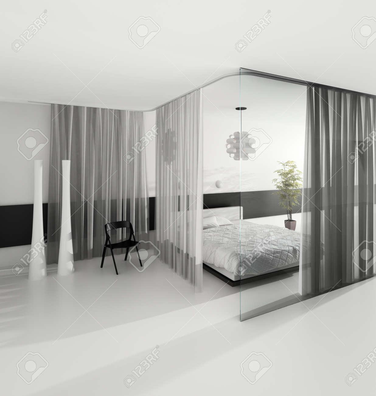 Design D\'intérieur Chambre Moderne De Couleur Grise Banque D\'Images ...