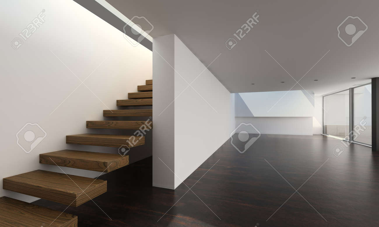 Modern Empty Room with Stair   Interior Architecture Stock Photo - 19532987