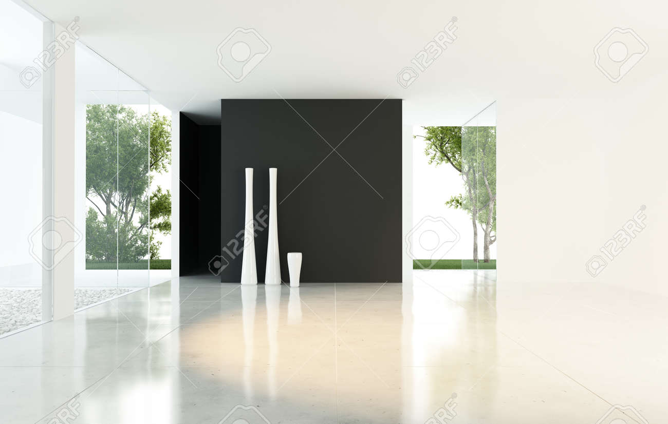 Modern Empty Living Room With Vases Stock Photo, Picture And Royalty ...