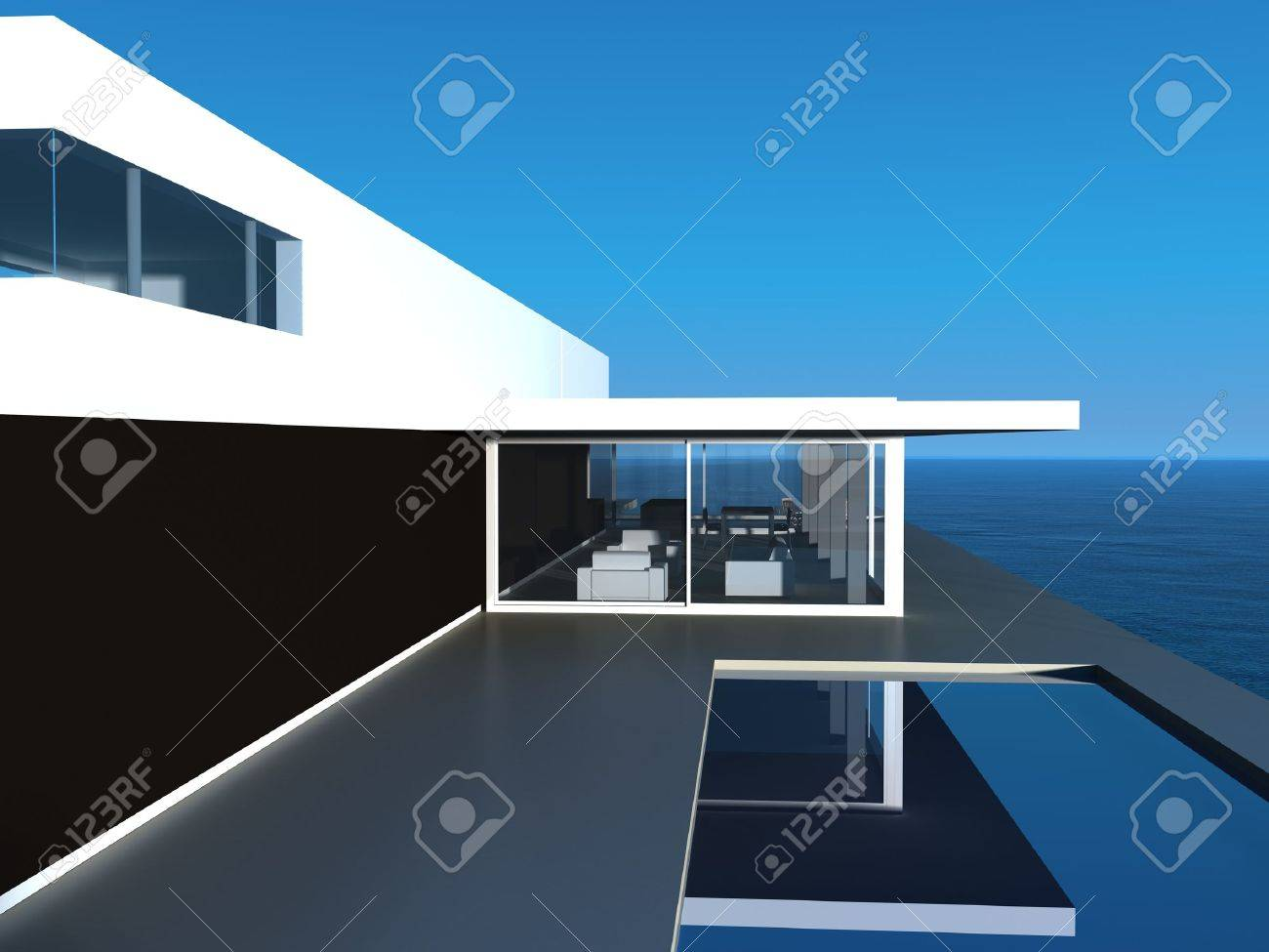 Modern Design villa with pool and seascape view Stock Photo - 19532998