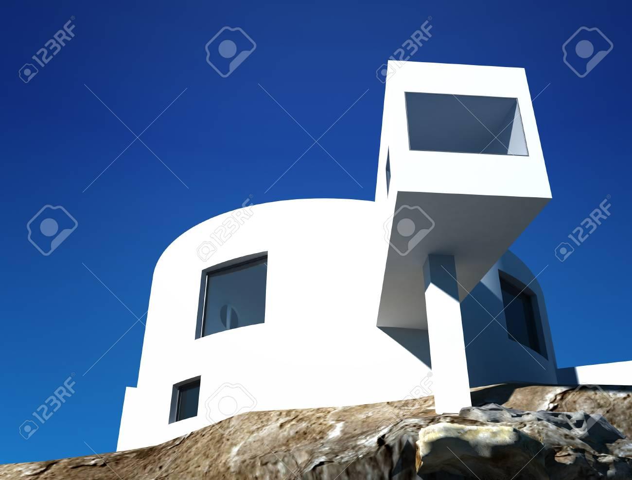 Modern Design Minimaliste Exterieur De La Maison Sur Une Falaise