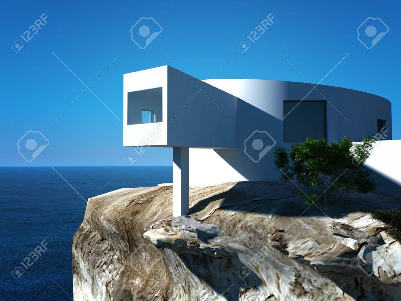Villa Moderne De Conception Sur La Mer Architecture Extérieure