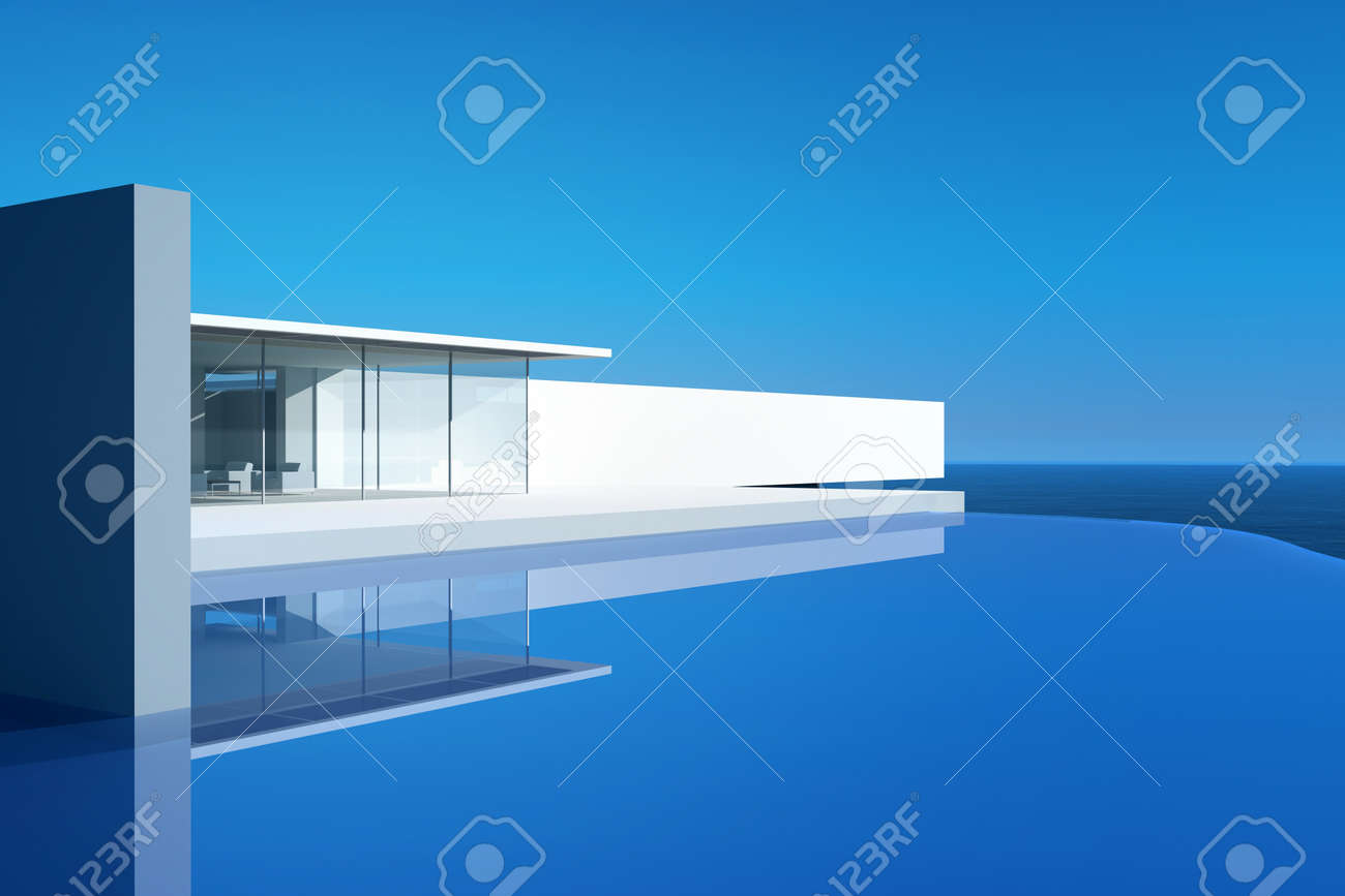 Modern Design House Villa Exterior With Infinity Pool Stock Photo