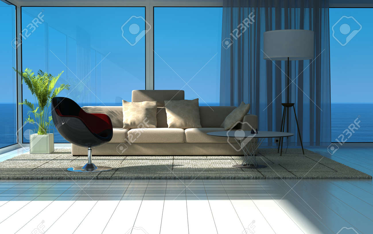 Modern sunny living room with large windows and seascape view Stock Photo - 19752105