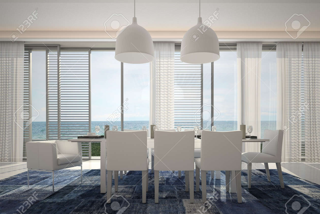 Modern interior with dining table and seascape view Stock Photo - 19532935