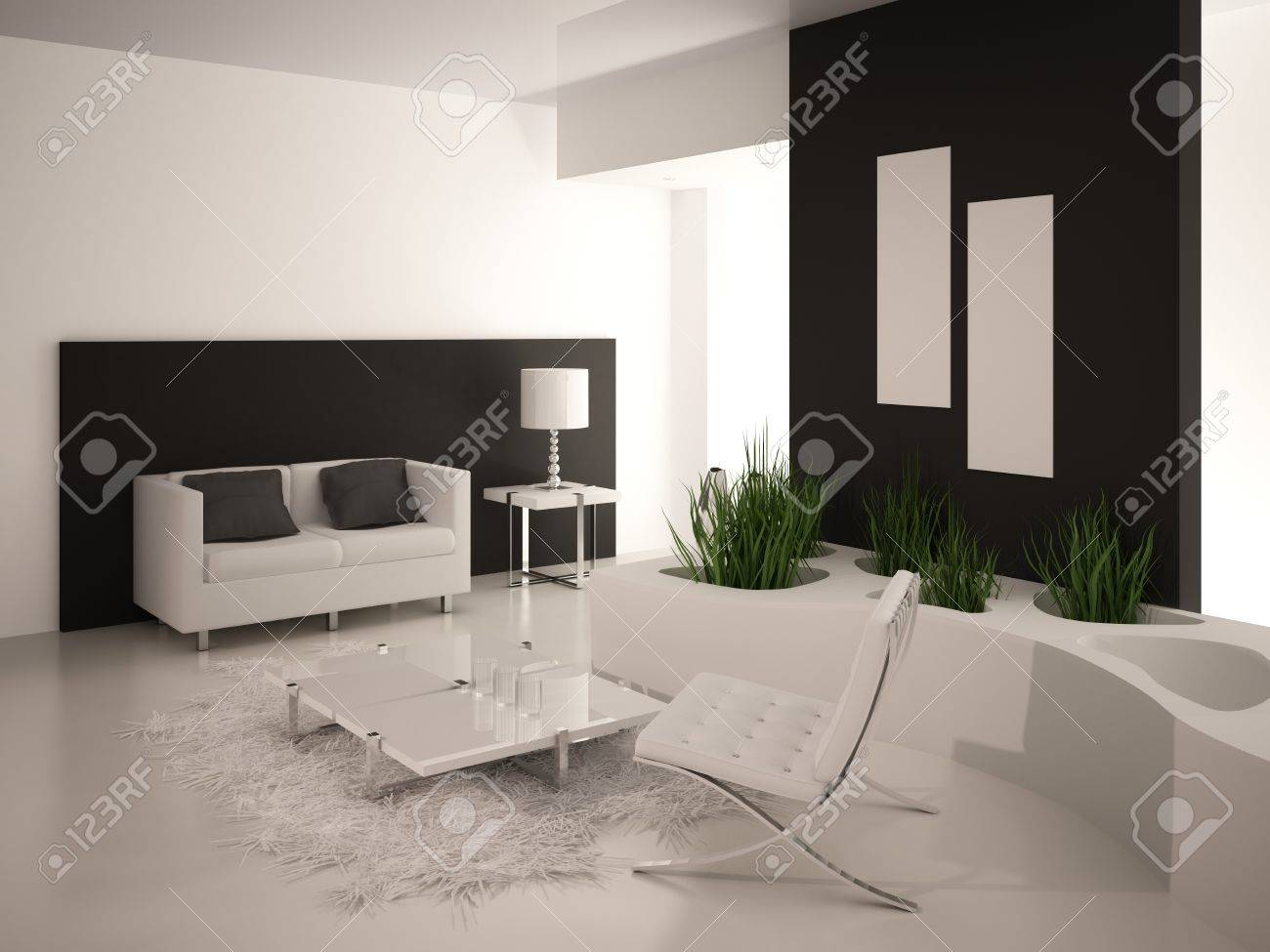 Modern black and white living room interior Stock Photo - 19533036
