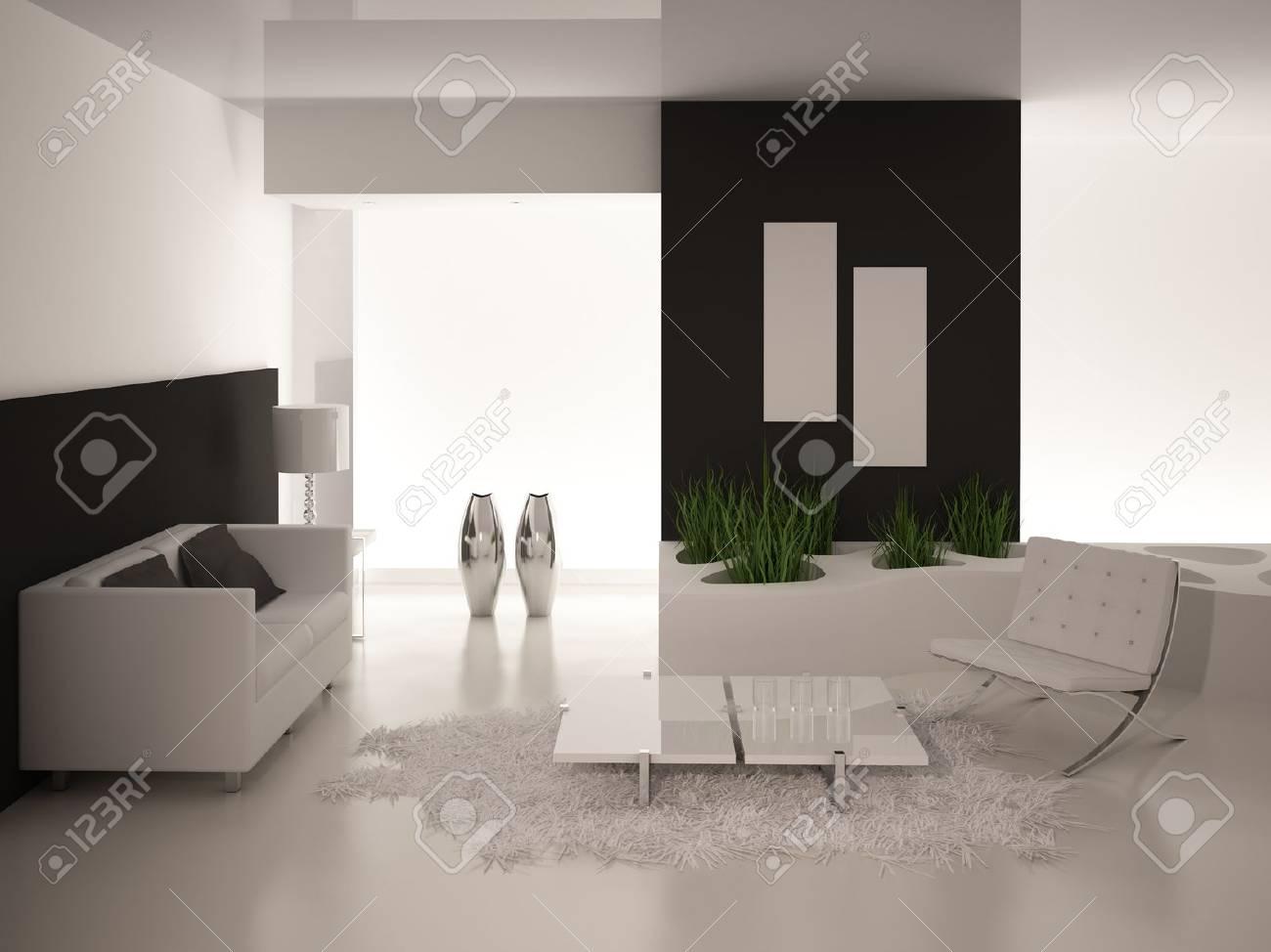 Modern Black And White Living Room Modern Black And White Living Room Interior Architecture Stock