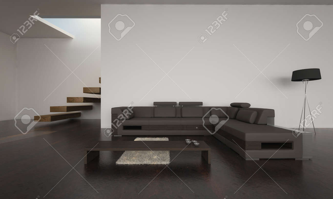 Modern Living Room With Brown Sofa Set Stock Photo, Picture And ...
