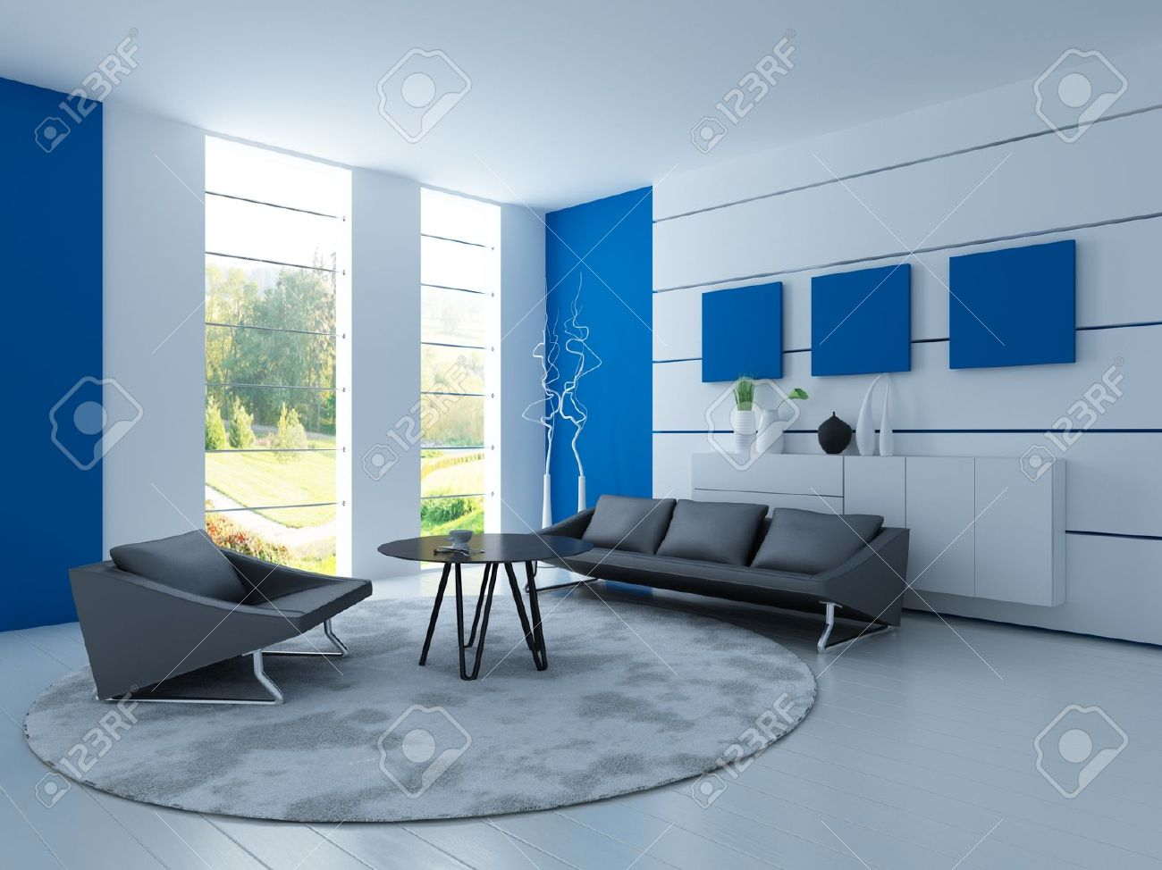 Light blue living room - Light Blue Living Room Light Blue Living Room With Black Sofa Stock Photo 19532918