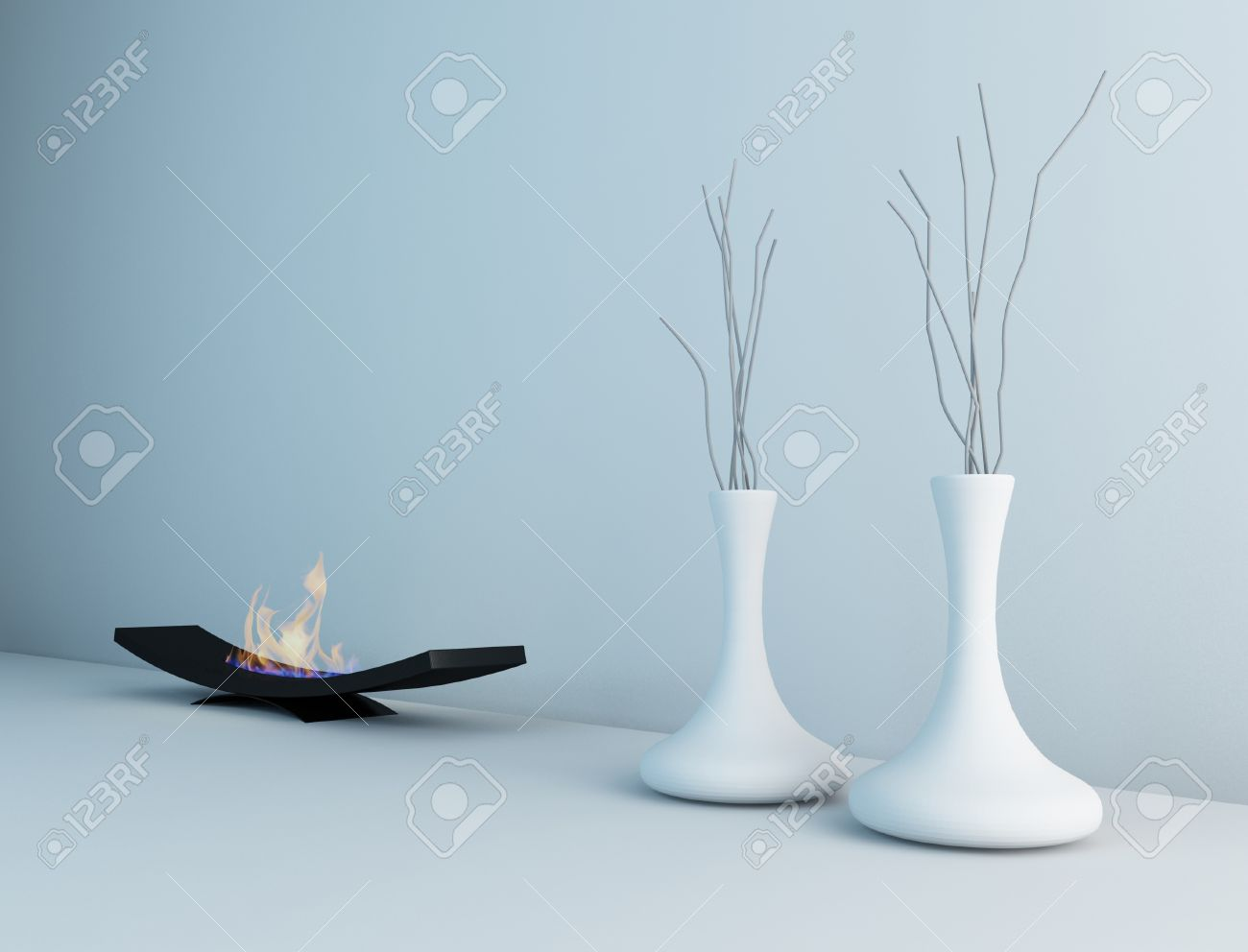 minimalist fireplace with vases interior architecture stock photo