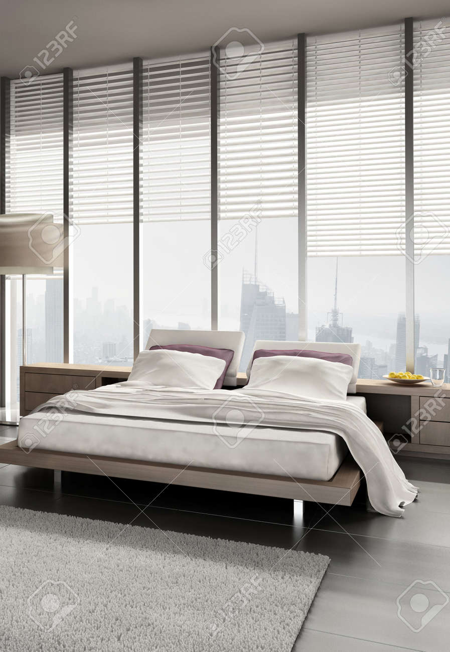 Modern design bedroom with floor to ceiling windows Stock Photo - 20074413
