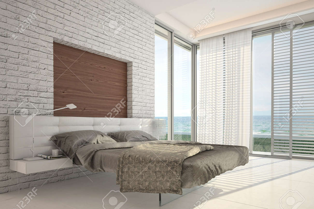 Modern design bedroom with floor to ceiling windows and seascape view Stock Photo - 20074504