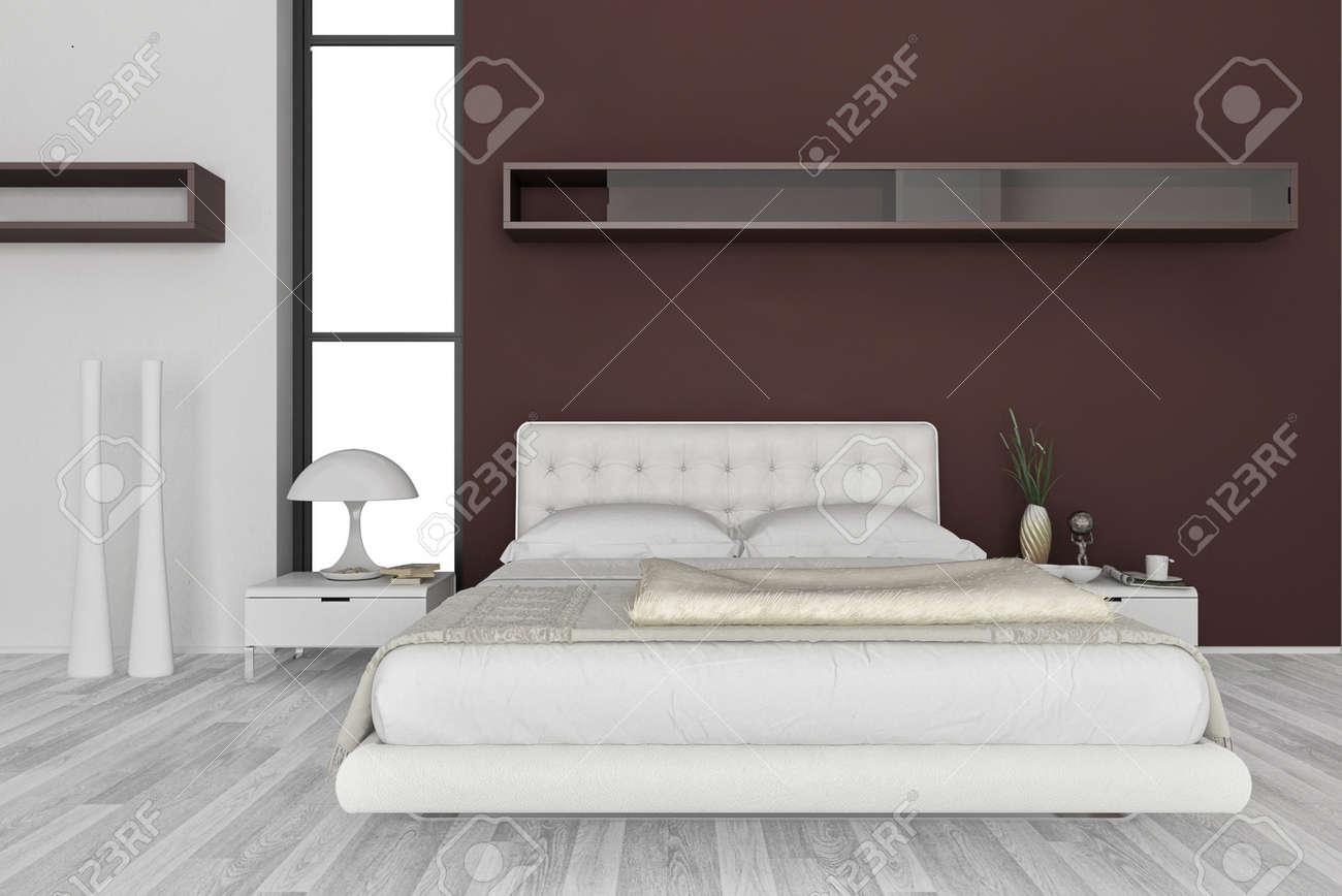 Exclusive Design Bedroom   3d Interior architecture Stock Photo - 20074280