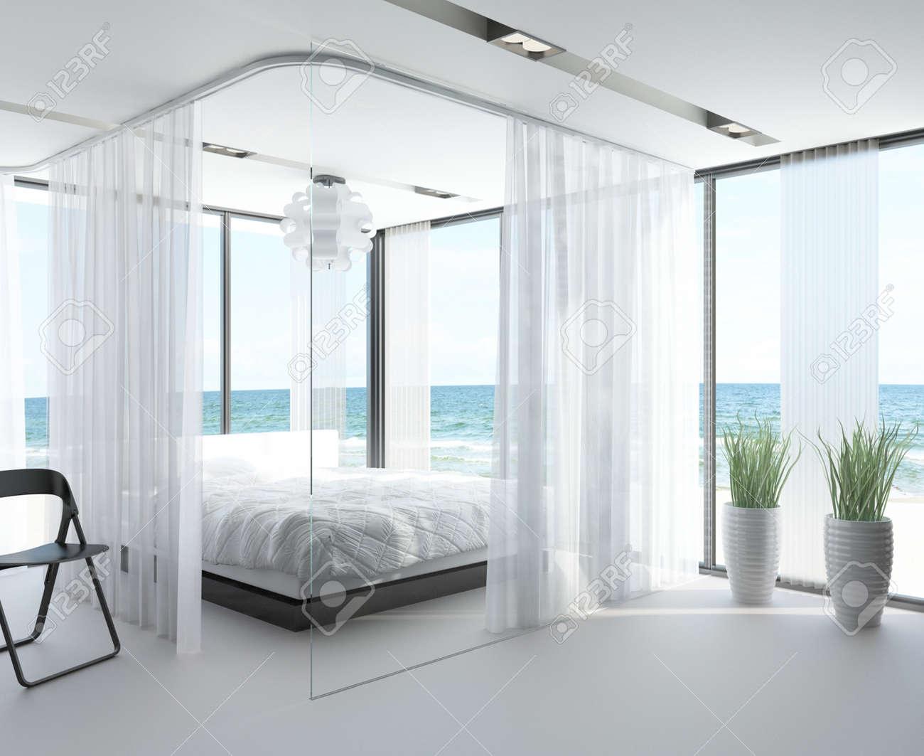 Modern design slaapkamer interieur met zeegezicht weergave royalty ...