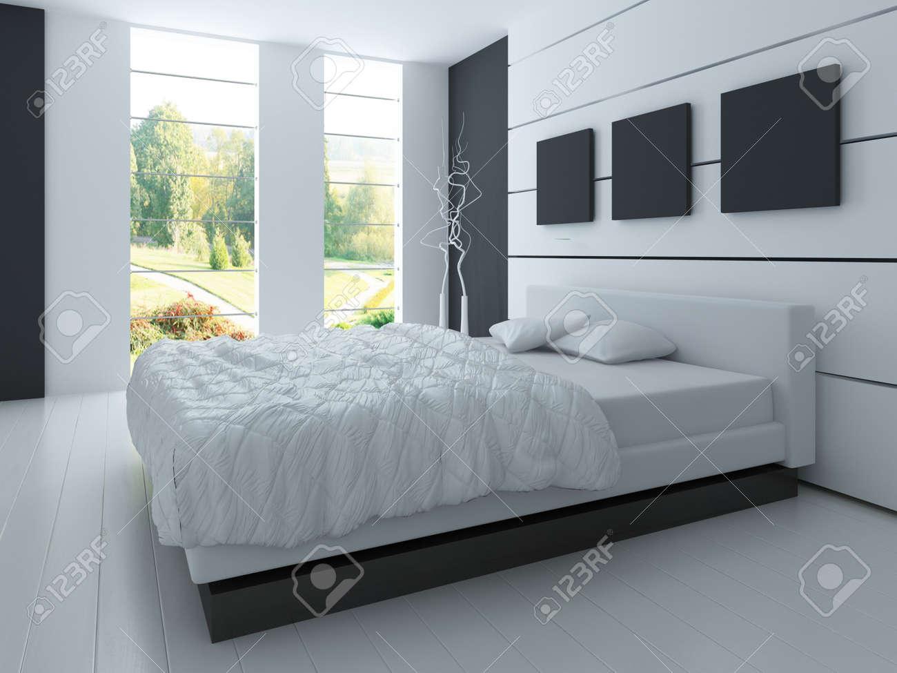 Modernes Design Schwarz Und Weiss Schlafzimmer Interieur Lizenzfreie