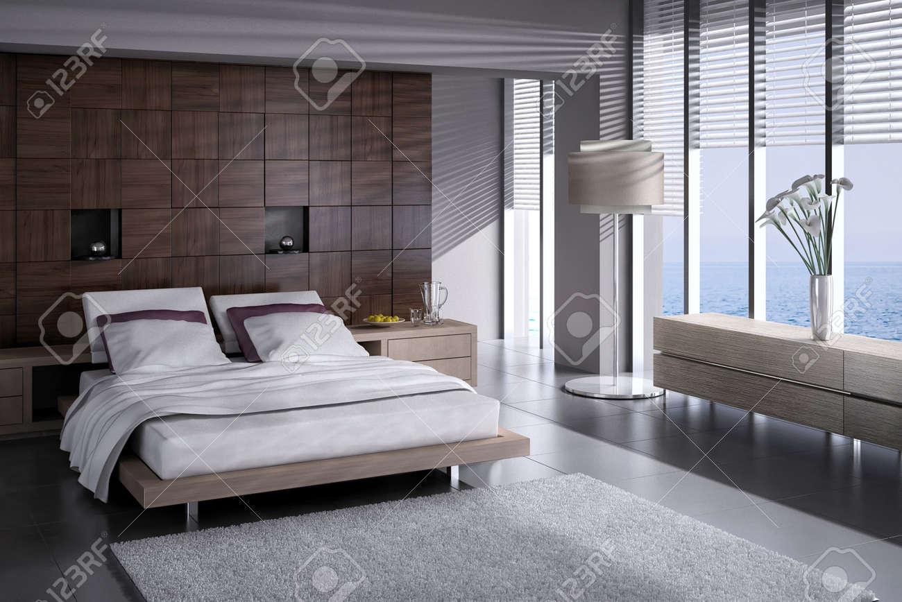 Modern Design Slaapkamer Interieur Met Grote Ramen Royalty-Vrije ...