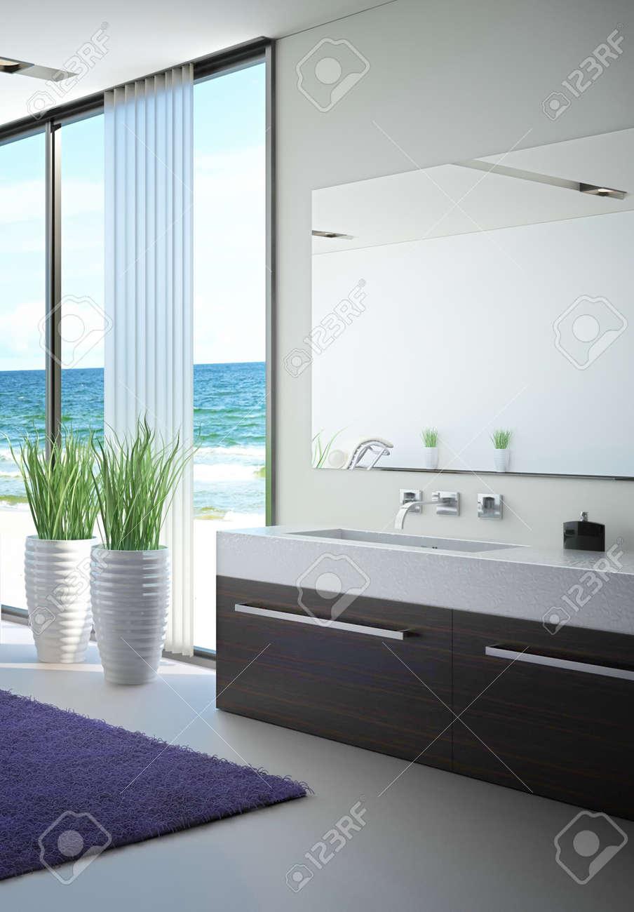 Salle De Bain De Luxe En Pierre ~ int rieur salle de bains moderne avec vue sur la marine banque d