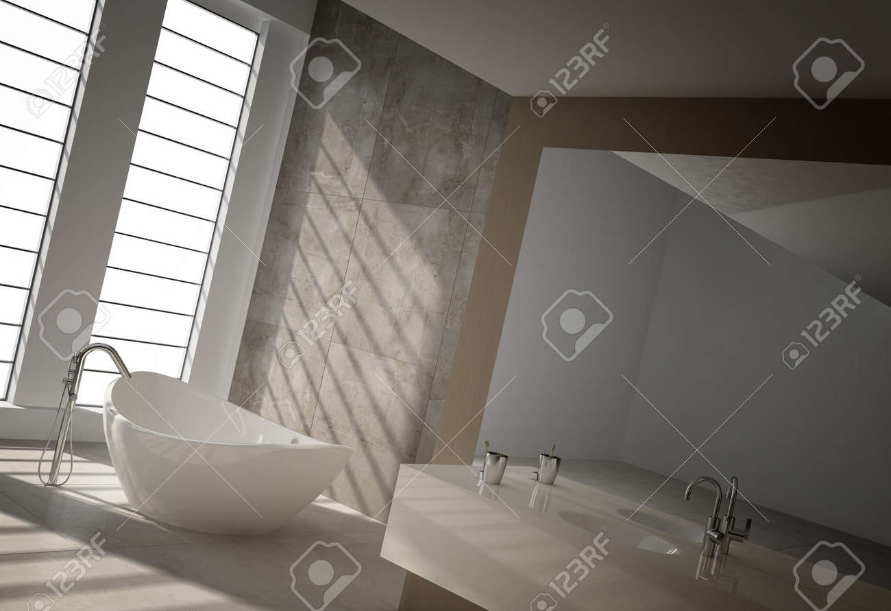 Modernt badrum interiör med golv till tak fönster royalty fria ...
