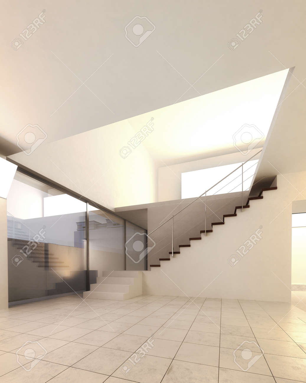 A 3d rendering of staircase in an empty hall Stock Photo - 20217916
