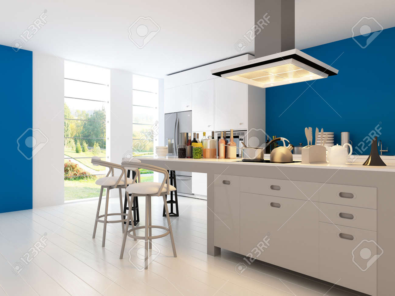 A 3d Rendering Of Modern Kitchen Interior Stock Photo Picture And