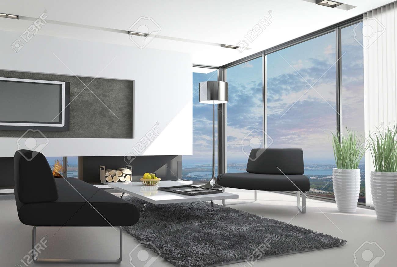 Futuristisches Interieur Loft Wohnung Futuristisches Haus Interieur ...