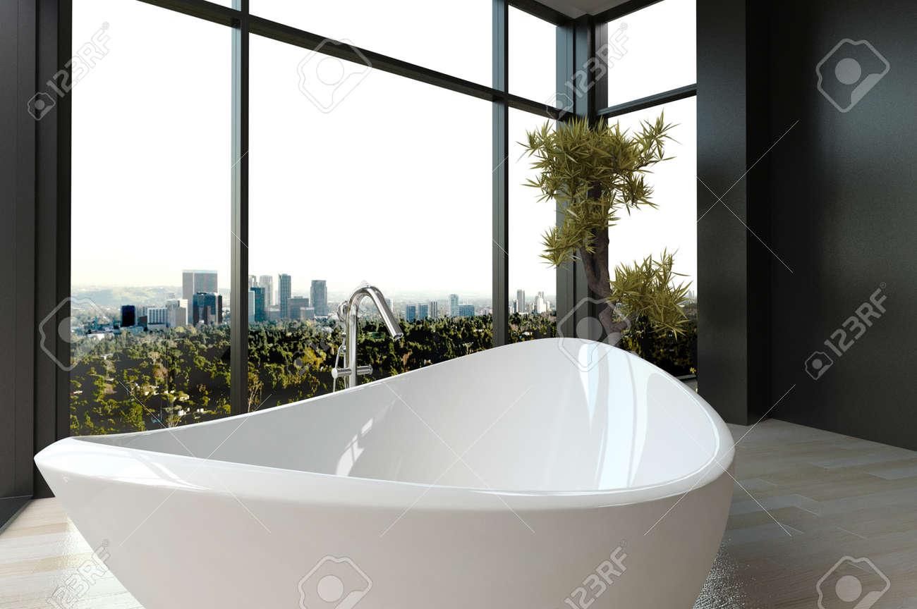 Vasca Da Bagno Vista : Immagini stock vasca da bagno di lusso costoso contro finestra