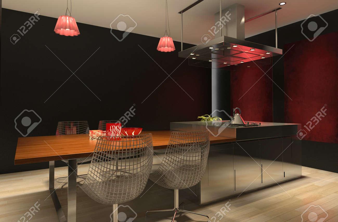 Cocina moderna de diseño negro y rojo