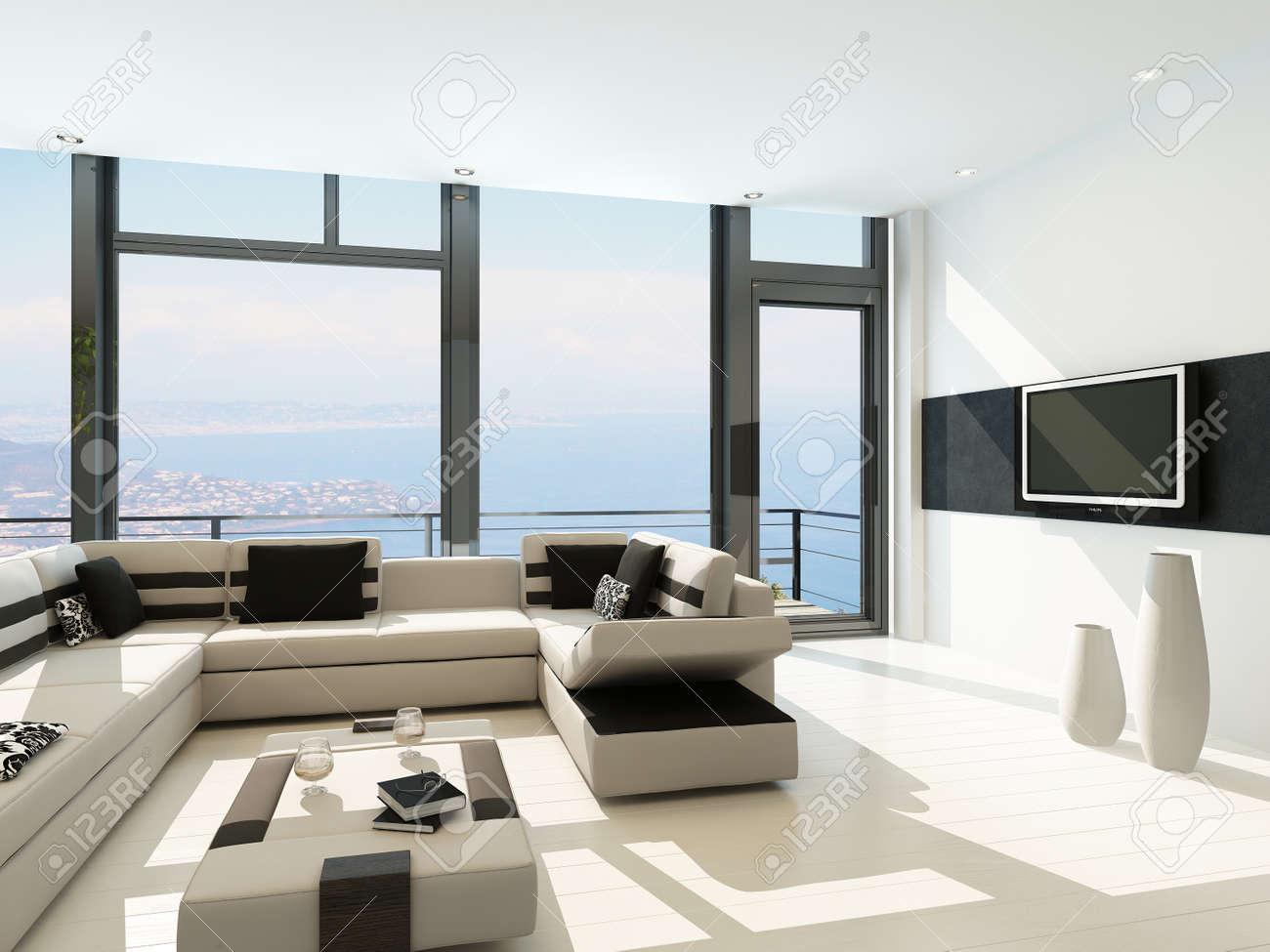 Moderne witte woonkamer interieur met prachtig zeegezicht weergave ...