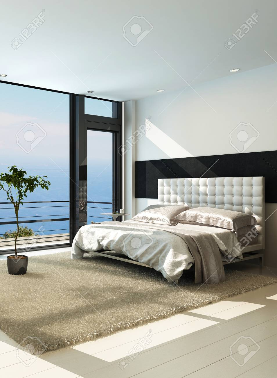 Contemporary modern sunny bedroom interior with huge windows Stock Photo - 23064260