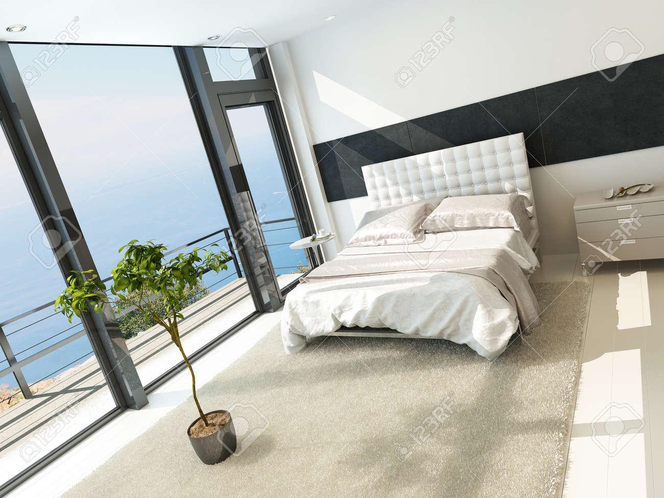 Zeitgenössische Moderne Sonnigen Schlafzimmer Interieur Mit Großen ...